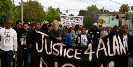 Alan Blueford 1st year memorial 'Justice 4 Alan' march banner 050513 by Malaika, web