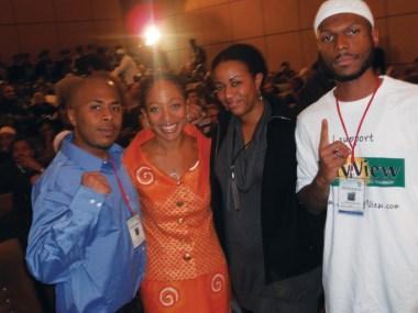 JR, Samia Nkrumah, Ra'Shida, Malcolm at Tripoli Libya conf 0111 by JR, web