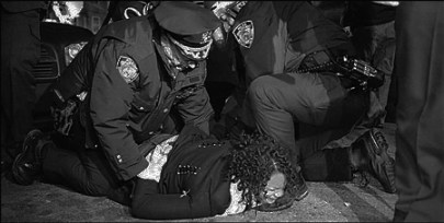 Kimani Gray protest cops on Black woman on ground East Flatbush, Brooklyn 031313 by Stephanie Keith, Polaris