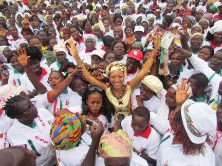 Samia Nkrumah, supporters celebrate election victory 082012