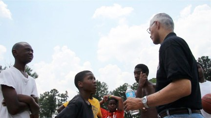 Chokwe Lumumba campaigning for mayor talks to young boys 2013