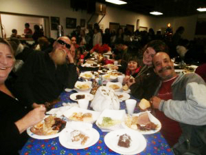 Dinner time at Our Daily Bread Ministries in Crescent City, Calif.
