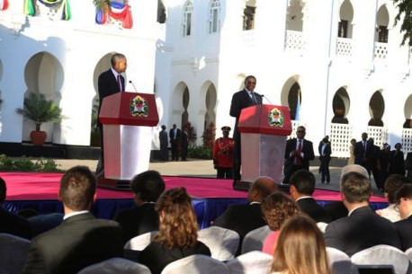 Obama, Tanzanian President Jakaya Kikwete press conference Dar es Salaam State House 070213 by In2EastAfrica Reporter