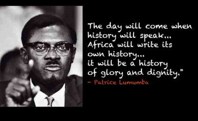 Patrice Lumumba graphic 'Africa will write its own history'