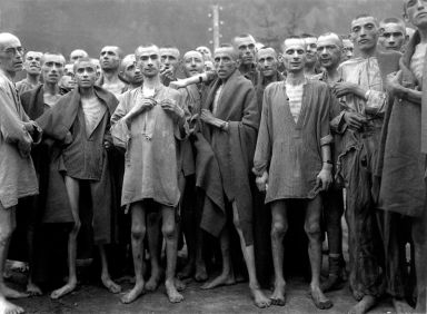 Prisoners in Ebensee, Austria, concentration camp, used for 'scientific' experiments liberated 050745 by NARA