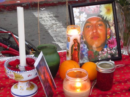 Hunger strike street altar feat. Christian Gomez at 40th & Clarke, Oakland by Molly Batchelder