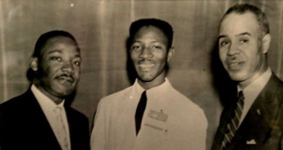Martin Luther King, Amos Brown, Roy Wilkins NYC 1959, court Amos Brown