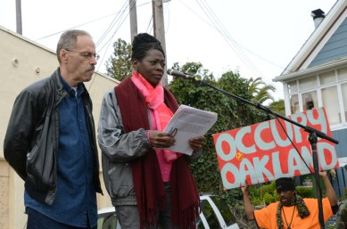 Occupy San Quentin Marie Levin, Sitawa's sister, speaking 022012-4 by Bill Hackwell, web
