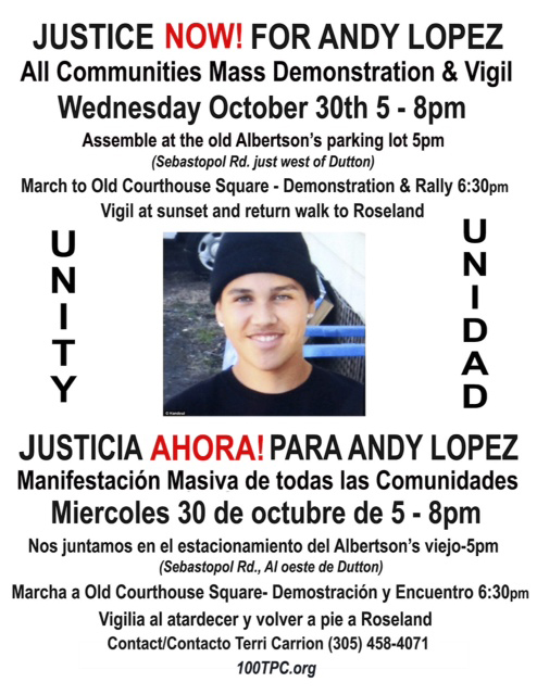 Justice Now! for AndyLopez flier