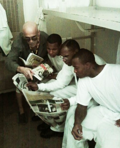 Georgia prisoners reading SFBV- Israel Espinoza, Jamelle Tatum, Eugene Thomas, Quayshaun Adams 012611 by Robert Broughton, cropped, web