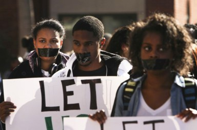 San Jose State students crash NAACP press conf on terrorized Black student 112513-2 by Spartan Daily