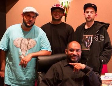 Shaykh Hashim Alauddeen, front, Professor ALI, Young Skitz, Yusuf Abdul Mateen in studio making GÇÿKarbala MixtapeGÇÖ