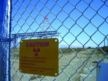 Hunters Point Shipyard 'Radiologically Controlled Area' sign, web