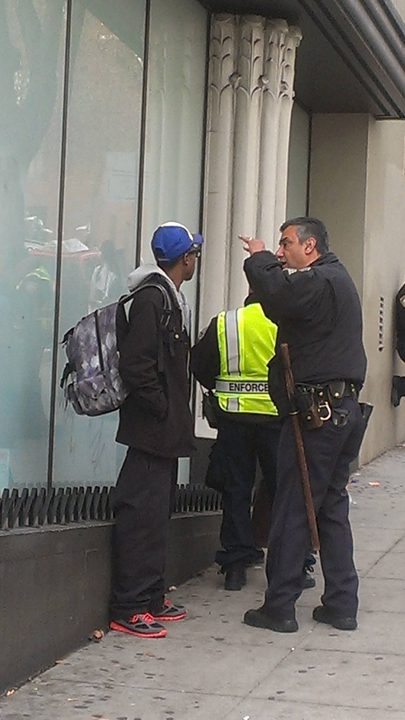 SFPD Off. Carrasco issues Muni fare evasion citation Geary & Van Ness 0114, web