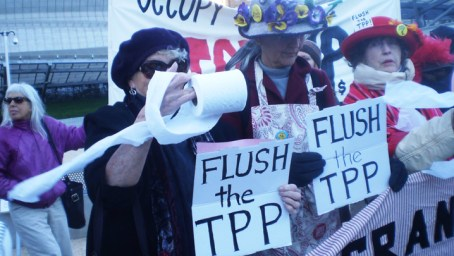 Flush TPP Raging Grannies 'Flush the TPP' 013114 by Carol Harvey
