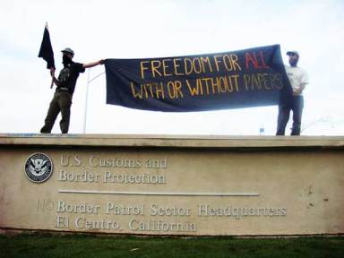 ICE protest 'Freedom for all with or without papers' El Centro CA 110907
