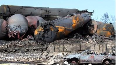 Lac-Mégantic explosion caused runaway 74-car Bakken crude oil train 070613 by Surete du Quebec, Canadian Press