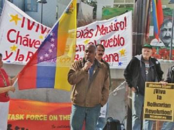 Pierre Labossiere speaks SF Venezuela solidarity rally 021714 by Jonathan Nack