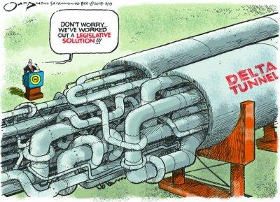 Delta tunnel legislative solution cartoon
