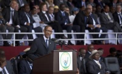 President Kagame addresses the crowd in the Amahoro Stadium April 7. – Photo: Ben Curtis, AP