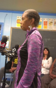 Karen Johnson, co-owner of Marcus Book Store of San Francisco, calls on San Francisco leadership to save the oldest Black book store in the country. – Photo: Poor News Network
