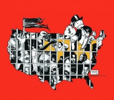 "Kevin ""Rashid"" Johnson's art is featured in the 2014 Syracuse Cultural Workers Peace Calendar, and this image graces the month of May. He created it to mark National Occupy Day in Support of Prisoners on Feb. 20, 2012."