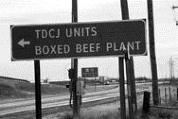 This sign marks the road to the Clements Unit prison near Amarillo, Texas.