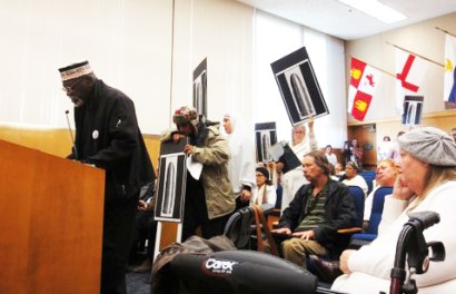 Big Man testifies before the Sonoma County Board of Supervisors, protesting the murder of Andy Lopez by a Sonoma County sheriff's deputy. – Photo: Vesta Copestakes