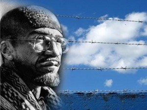 Imam Jamil Al-Amin behind barbed wire graphic