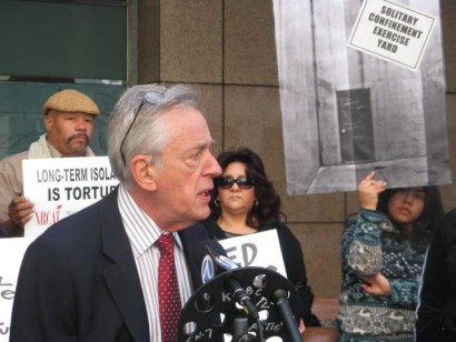 "Center for Human Rights and Constitutional Law President Peter Schey tells the press on March 20, 2012, about the petition he had just filed asking the United Nations to intervene on behalf of the thousands of California prisoners in solitary confinement. ""California holds more prisoners in solitary confinement than any other state in the United States or any other nation on earth. The treatment of these prisoners is barbaric and, numerous experts agree, amounts to torture,"" he said. – Photo: Alma Espinosa"