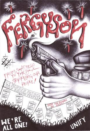 """""""Ferguson"""" – Art: Criss Garcia, J-93559, Pelican Bay SHU C1-112, P.O. Box 7500, Crescent City CA 95532 (Click to enlarge)"""
