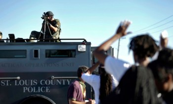 St. Louis County Police Department Chief Timothy Fitch was trained by Israelis, and most of the military vehicles and officers terrorizing Ferguson wore identification as belonging to St. Louis County Police. – Photo: Jeff Roberson, AP