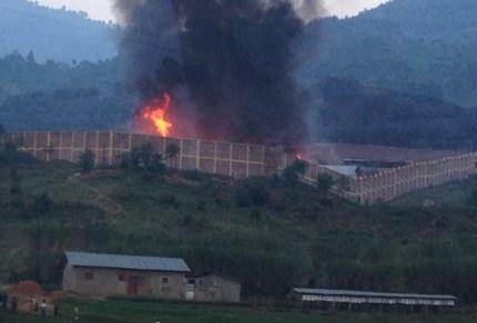 Rwanda's Nyakiriba Prison in Rubavu burned July 7, 2014.