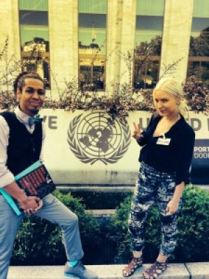 """On Aug. 12, Mark-Anthony Johnson and Lynwood social worker Kristina Ronnquist pause at the entrance of the United Nations in Geneva, where they submitted the Dignity and Power Now report, """"Impact of Disproportionate Incarceration and Abuse of Black People with Mental Health Conditions in World's Largest Jail System"""" for review of U.S. compliance with the International Convention to Eliminate all forms of Racial Discrimination (CERD)."""