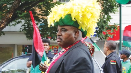 A Garveyite from New York brings the Hon. Marcus Garvey back to life. – Photo: Wanda Sabir
