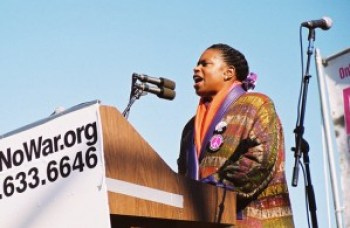 As keynote speaker at an anti-war rally in San Francisco on Jan. 18, 2003, Cynthia McKinney spoke to a crowd of a quarter million who were trying to deter George W. Bush from invading Iraq.