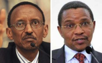 Tanzanian President Jacaya Kikwete, right, has encouraged Rwandan President Paul Kagame, left, to negotiate with the FDLR militia for the safe return of Rwandan refugees in eastern Congo to Rwanda. Kagame has absolutely refused.