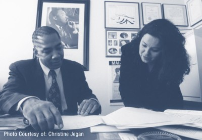San Francisco Deputy Public Defender Chris Hite, shown here with clerk Thelma Flores Arroyo, co-chairs the San Francisco Public Defender's Racial Justice Committee. – Photo courtesy Christine Jegan