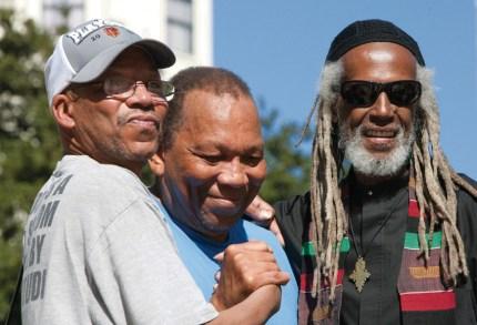 Bobby McCall, Melvin Dixon and Elder Freeman share memories on the BPP's 46th Anniversary. – Photo: Malaika Kambon