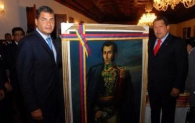 Ecuadorian President Rafael Correa and Venezuelan President Hugo Chavez unveil a portrait of Simon Bolivar. – Photo: Presidencia de la Republica del Ecuador