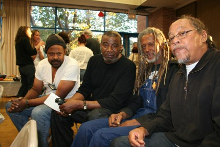 At a gathering on Sept. 24, 2007, for the San Francisco 8, former Black Panthers charged in an unsuccessful effort by the San Francisco Police Department to revive a decades-old murder case, are Elder Freeman, Arthur Lee and Sundiata Tate. – Photo: JR Valrey, Block Report