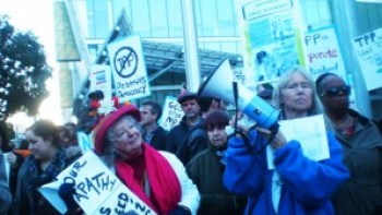 """Flush TPP"" was the cry in San Francisco on Jan. 31, 2014. Major protests will resume this week. – Photo: Carol Harvey"
