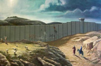 British graffiti artist Banksy envisioned Mary and Joseph blocked from Bethlehem by the Israeli apartheid wall in his Christmas card. – Photo: Banksy.co.uk