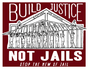 This poster was created by Amy Vanderwarker of the San Francisco Print Collective in support of the San Francisco No New Jail Campaign.