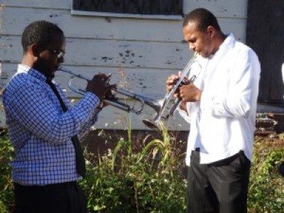 Young trumpet players in the TBC brass band, shown tuning up, led the way during the Ninth Ward Crawl. – Photo: Wanda Sabir