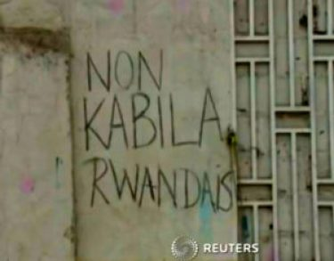 'Non Kabila Rwandais' graffiti Kinshasa 0115 by Reuters