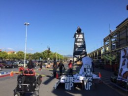 """The protesters brought in a two-story-tall watch tower and an altar and taped off the area around the Home Depot main entrance with mock yellow police tape that read """"Justice for Yuvette Henderson, Crime Scene."""" – Photo: Alyssa"""