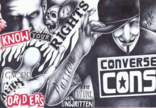 """Know Your Rights"" – Art: Criss Garcia, J-93559, PBSP SHU C1-112, P.O. Box 7500, Crescent City CA 95532"