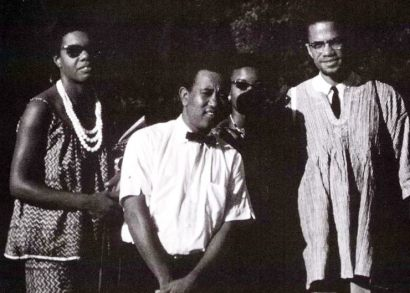 In Nigeria in 1964 are Maya Angelou, Nigerian High Commissioner Alhadji Isa Wali, Helen Darden and Malcolm X.