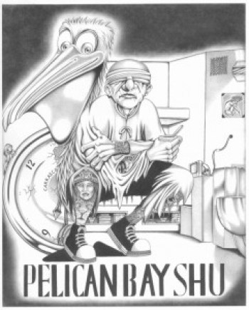 """Prisoners who have managed to survive a decade or more of solitary confinement torture are symbolized in this drawing, """"Pelican Bay SHU 2."""" SHU prisoners tend to produce extraordinary written and art work, their high intelligence considered a threat to the system by prison officials. – Art: Chris Carrasco, D-96045, PBSP SHU D7-119, P.O. Box 7500, Crescent City CA 95532"""
